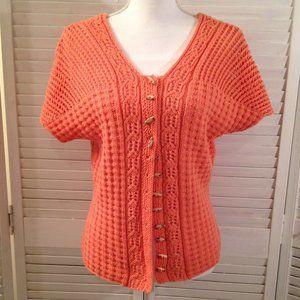 Unbranded Orange Crochet Button-Down Sweater
